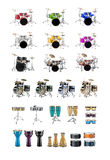Drums. And Percussion Instruments images isolated on white stock image