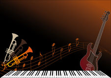 Musical instruments. On the brown background Royalty Free Stock Image