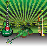 Musical instruments. Colorful background with green guitar, violin and golden trumpet. Musical instruments Royalty Free Stock Image