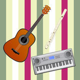 Musical instruments with abstract background. Musical instruments - flute, guitar and electric piano on an abstract background with stripes Royalty Free Stock Image