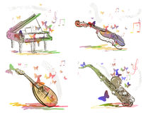 Musical instruments in abstract style Stock Image