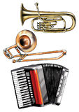 Musical instruments accordion trombone key pipe Royalty Free Stock Images