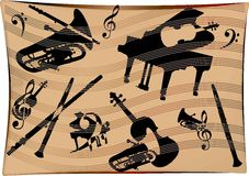 Musical Instruments Background. A Stylized Musical Instruments Background Royalty Free Stock Images