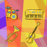 Musical instruments. Background with drums, trumpet, acoustic guitar and electric piano Royalty Free Stock Photos