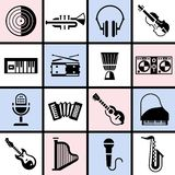 Musical instruments black set Royalty Free Stock Photos