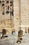 Musical instruments during a break, outside the Cathedral of Seville, Spain Royalty Free Stock Image