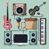 Musical Instruments, Cables and Devices Stock Images