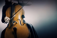 Musical instruments cello. Woman cellist playing Royalty Free Stock Photos