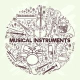 Musical instruments in a circle-01. Musical instruments in a circular arrangement. On a light grunge background. Stringing, string, percussion, wind instruments Royalty Free Stock Image
