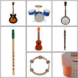 Musical Instruments. Collage with Various Musical Instruments Stock Photos
