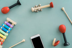 Musical instruments collection Stock Photography