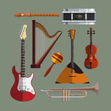 Musical instruments collection. Music icon vector. Set. Flat design illustration with musical objects, guitar, violin, drum, harp Royalty Free Stock Image