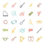 Musical Instruments Colored Line Icon Vector Set. Collection of 25 colored musical instruments line icons Royalty Free Stock Photos