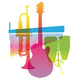 Musical Instruments. Colored Pop Art. Vector Royalty Free Stock Images