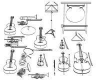 Musical instruments. 2d cartoon illustration of musical instruments Stock Images