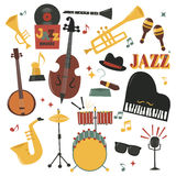 Musical instruments decorative icons with guitar drums headphones and jazz rock concert note silhouette audio piano Royalty Free Stock Image