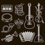 Musical instruments. Design set Monochrome vector. Stock Image