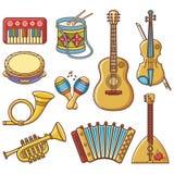 Musical instruments. Design set Monochrome vector. Musical instruments. Design set - piano, drum, tambourine, maracas, harmonica, accordion, balalaika, guitar stock illustration