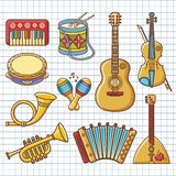 Musical instruments. Design set Monochrome vector. Royalty Free Stock Photography