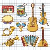 Musical instruments. Design set Monochrome vector. Musical instruments. Design set - piano, drum, tambourine, maracas, harmonica, accordion, balalaika, guitar vector illustration