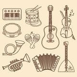 Musical instruments. Design set Monochrome vector. Musical instruments. Design set - piano, drum, tambourine, maracas, harmonica, accordion, balalaika, guitar royalty free illustration