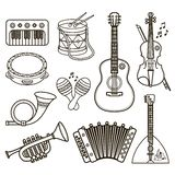 Musical instruments. Design set Monochrome vector. Royalty Free Stock Photo