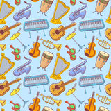 Musical instruments doodle vecto rseamless pattern. Music backgr Royalty Free Stock Photos