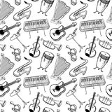 Musical instruments doodle vecto rseamless pattern. Music backgr Stock Photography