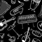 Musical instruments doodle vecto rseamless pattern. Music backgr Royalty Free Stock Photography