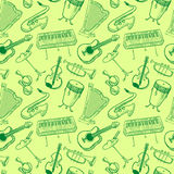 Musical instruments doodle vector rseamless pattern. Music backgr Stock Images