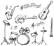 Musical instruments doodles Stock Photo