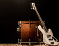 musical instruments, drum bass Bochka bass guitar on a black background royalty free stock photos