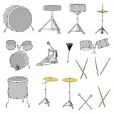 Musical instruments - drum set Stock Photos
