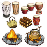 Musical instruments drums and elements of camping Stock Photo