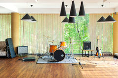 Musical instruments. Electric guitars, Drums stock photography