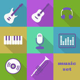 Musical instruments and equipment. Flat vector icons Royalty Free Stock Photos