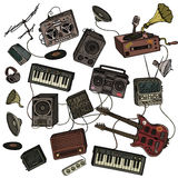 Musical instruments and equipment Royalty Free Stock Photos