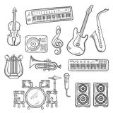Musical instruments and equipments sketches Royalty Free Stock Photos