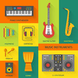 Musical instruments flat icons. Stock Photos