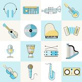 Musical instruments flat line set Royalty Free Stock Photo
