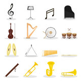 Musical instruments flat  set. Set of 16 flat icons of different musical instruments and signs Stock Photo