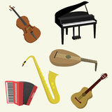 Musical instruments. Flat style Vector illustration Royalty Free Stock Photography