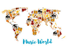 Musical instruments forming world map. World map made of musical instruments. Acoustic and electric guitar, sax or saxophone, drum kit and lyre, piano and Stock Images
