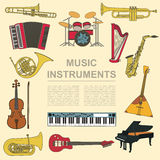 Musical instruments graphic template. All types of musical instr Stock Image