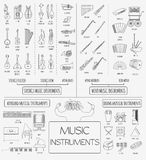 Musical instruments graphic template. All types of musical instr Stock Images