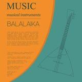 Musical instruments graphic template. Balalaika. Stock Photography
