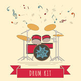 Musical instruments graphic template. Drumkit. Stock Images