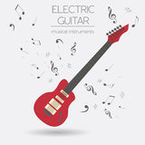 Musical instruments graphic template. Electric guitar Royalty Free Stock Photography