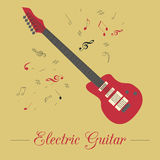 Musical instruments graphic template. Electric guitar Royalty Free Stock Images