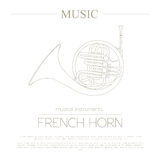Musical instruments graphic template. French horn. Stock Image